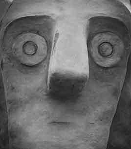 ricostruzione, testa guerriero di mote Prama