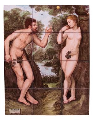 Ceramica artistica su mattonelle Adamo ed Eva Rubens