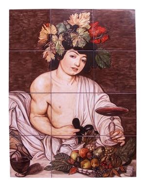 Ceramica artistica su mattonelle Bacco Caravaggio
