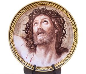 Ceramica artistica su ceramica piatto 40x40 cm guido reni cristo