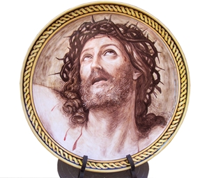 Ceramic art on 40x40 cm dish guido reni cristo