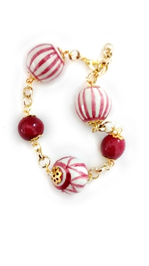 Ceramic bracelet red and white