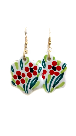 Ceramic earrings white and red