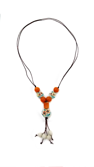 Ceramic necklace white and orange