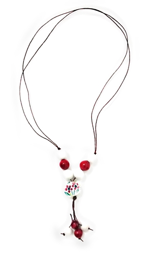Ceramic necklace white and red