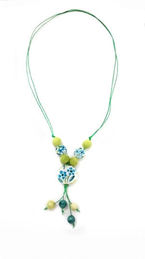 Ceramic necklace green and blue
