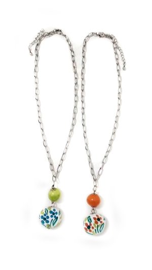 Ceramic necklace green and orange