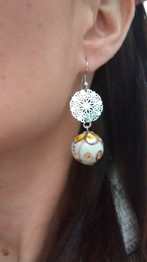 Ceramic earrings white and yellow