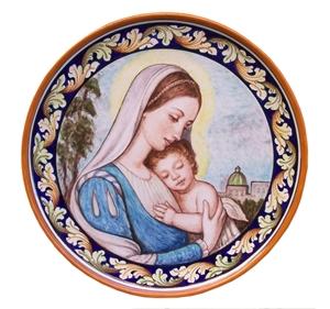 Ceramica artistica su ceramica piatti 40x40 cm madonna con bambno
