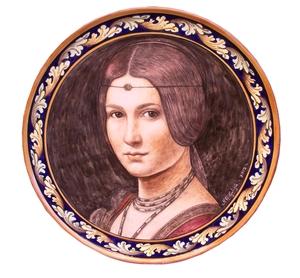 Ceramica artistica su ceramica piatto 40x40 cm leonardo dama