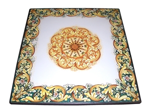 Ceramicized lava stone table ornate green orange