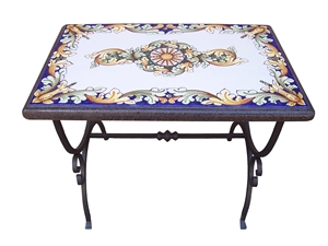 Ceramicized lava stone table ornate blu