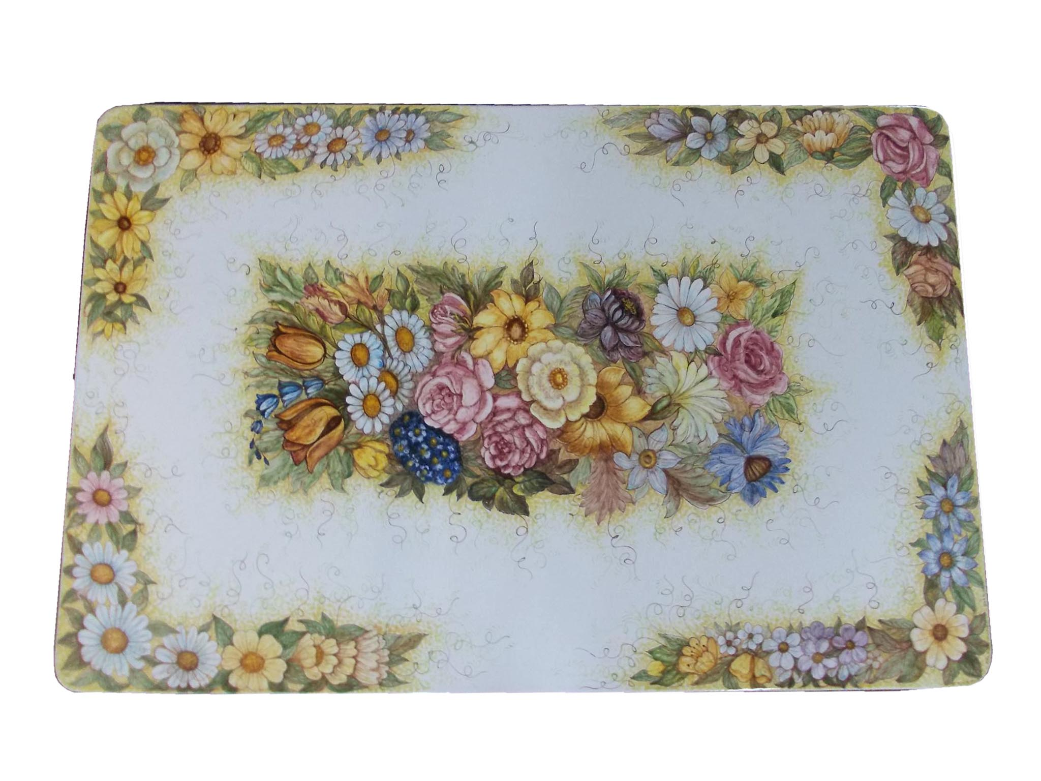 Tavolo in pietra lavica ceramizzata floreale 2