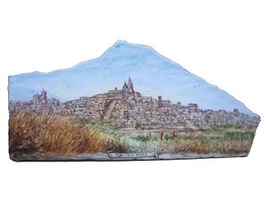 Spezzone artistico in pietra lavica ceramizzata paessagio