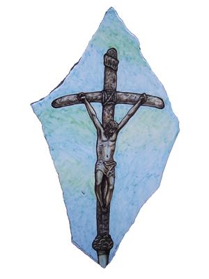 Artistic fragment ceramicized lava stone sacred art 2