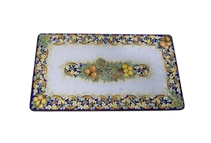 Ceramicized lava stone table ornate fruits blu 2