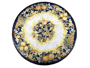 Ceramicized lava stone table ornate blu fruits paintings