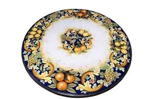 Ceramicized lava stone table ornate fruits blu 3