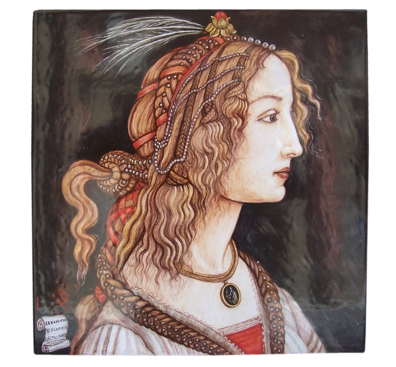 Ceramica artistica su ceramica pannello 40x40 cm botticelli