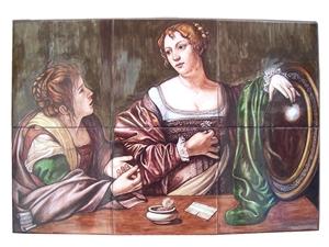 Ceramic art on tiles la conversione della Maddalena Caravaggio