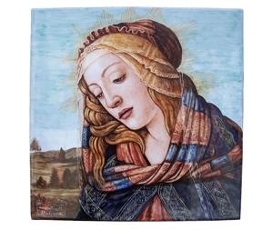 Ceramica artistica su ceramica pannello 40x40 cm botticelli madonna