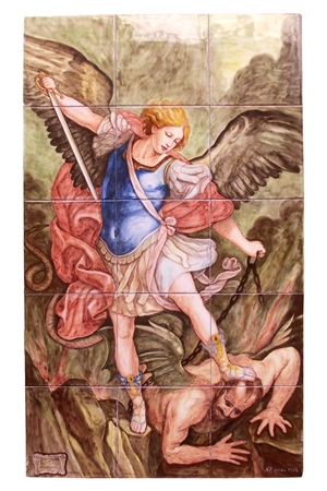 Ceramic art on tiles San Michele Arcangelo Guido Reni
