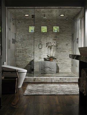 bagno rustico in legno e pietra con vasca interior design mac home design
