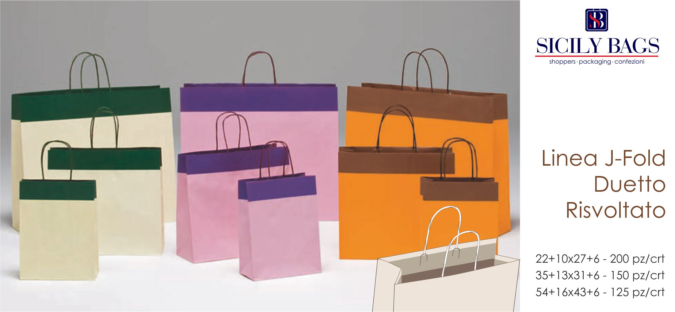 shopper in carta personalizzate bicolore e stampa