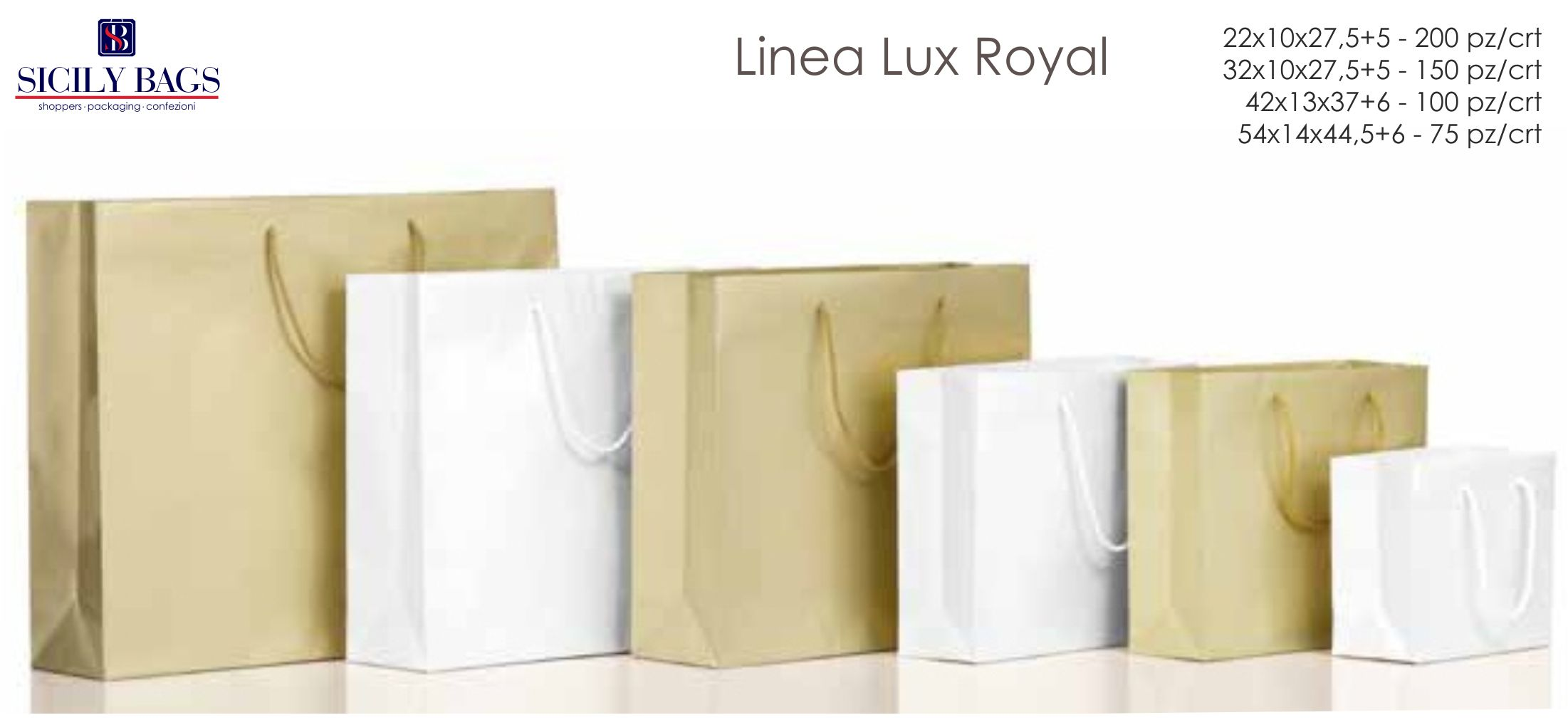 shopper in carta oro lux royal personalizzate