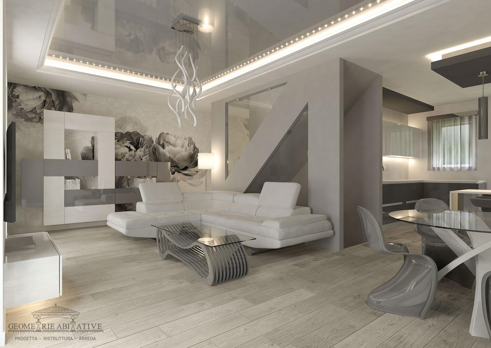 Casa con arredamento moderno geometrie abitative for Arredamento casa bianco