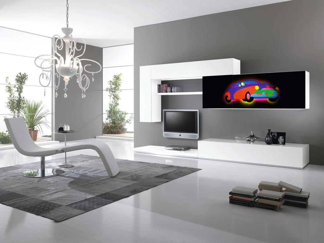 mobili zona giorno - living - Soggiorno Bianco E Blu