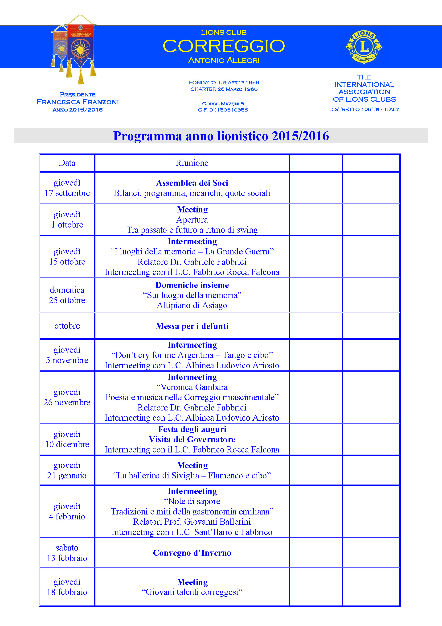 Calendario Anno 2015.Anno 2015 2016