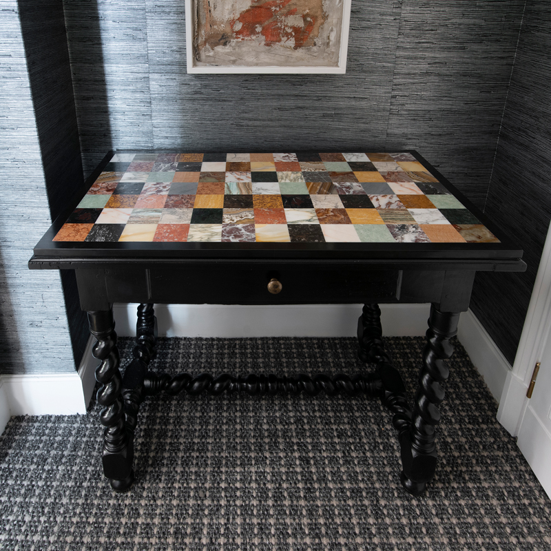 Late 19th Century Italian Black Desk with Multi-Color Marble Top
