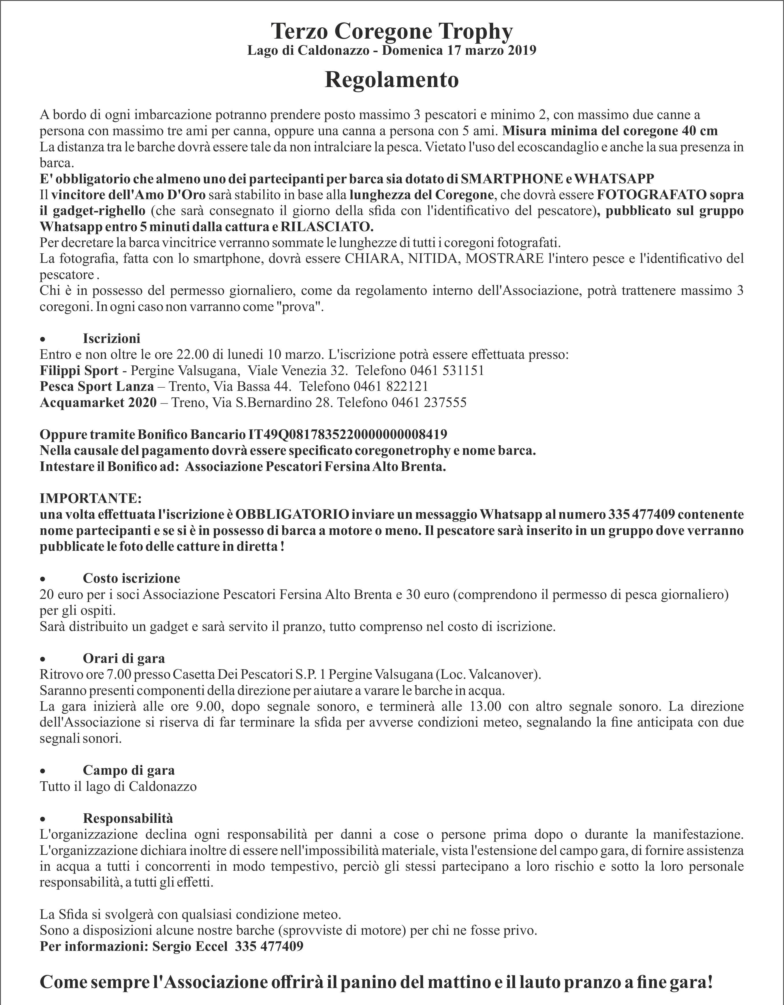 Calendario Pesca 2020.Associazione Pescatori Fersina Alto Brenta
