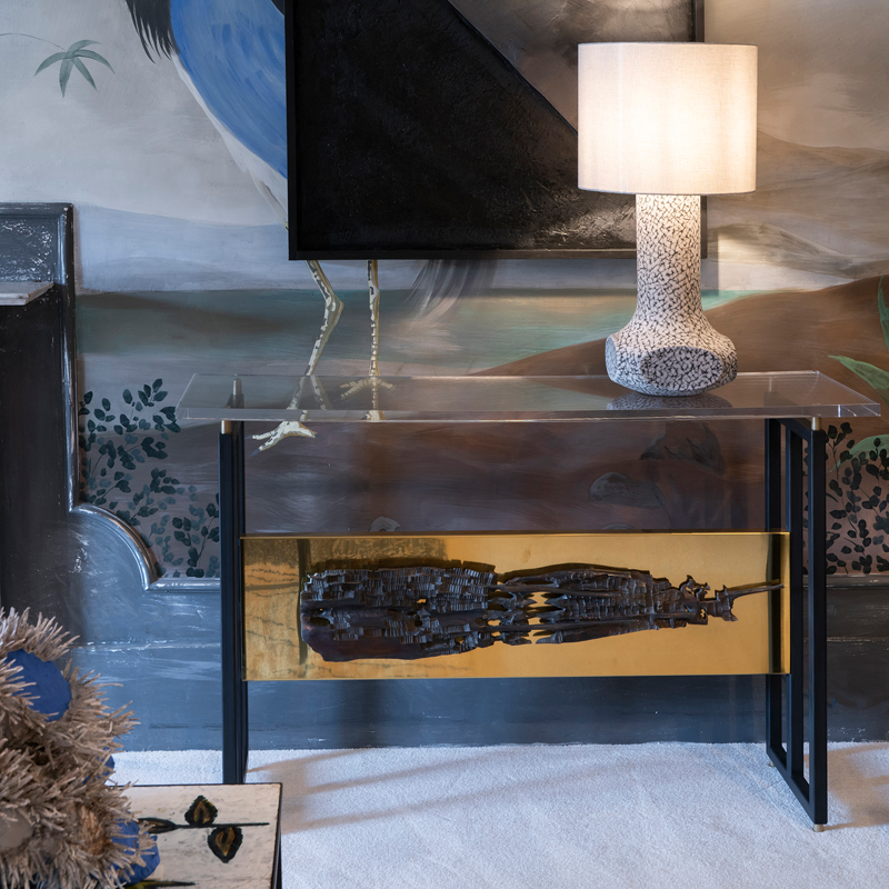 Flair Edition Contemporary Steel and Brass Console with Vintage Frieze