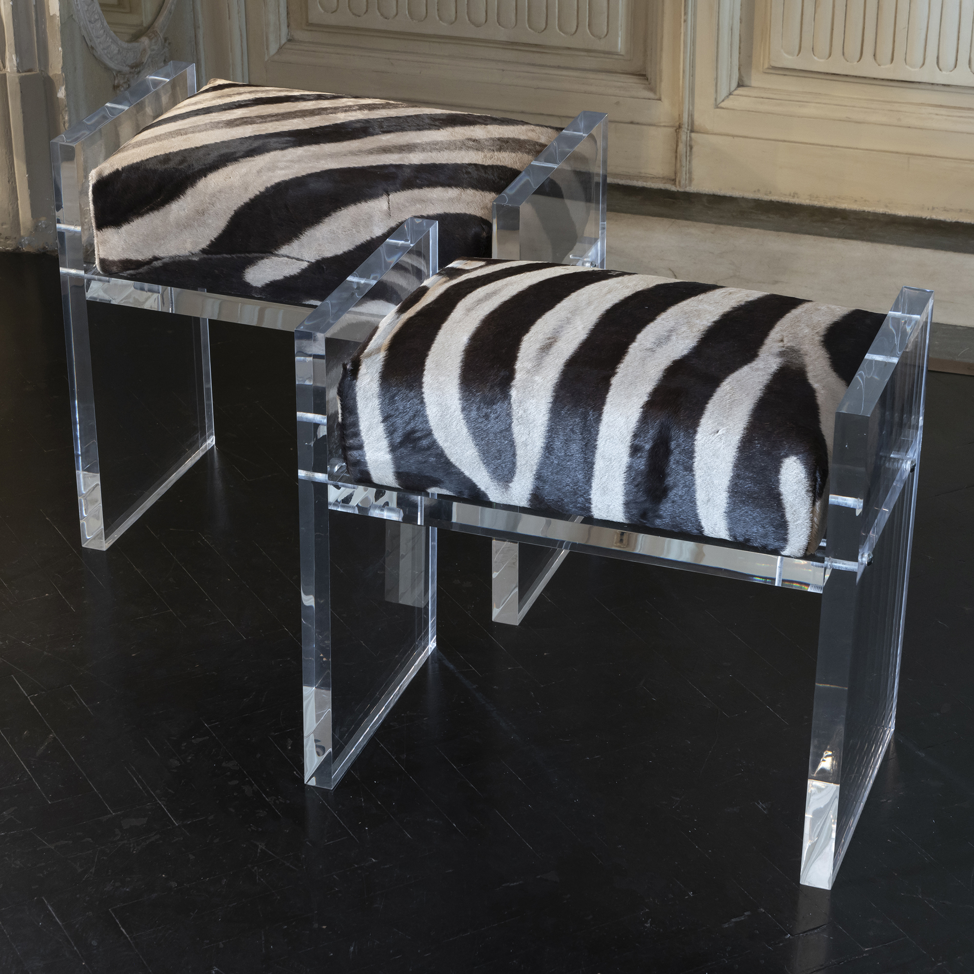 Contemporary Pair of Stools, Zebra Skin and Clear Plexiglass