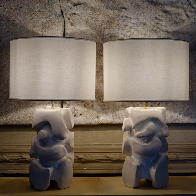 White Glazed Table Lamp by Alice Gavalet, France 2020