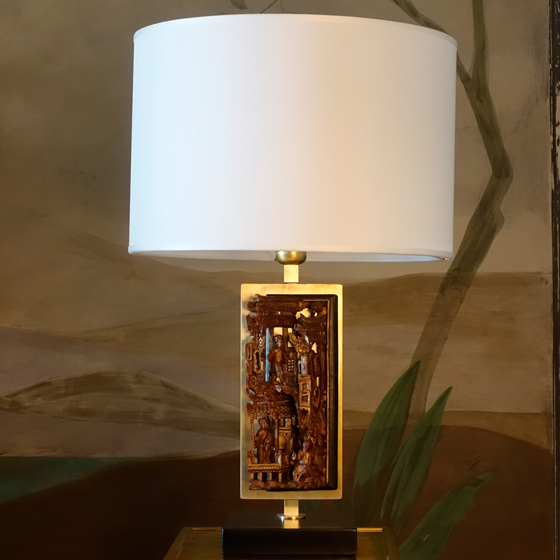 Contemporary Table Lamp with Vertical Chinese Vintage Fregio