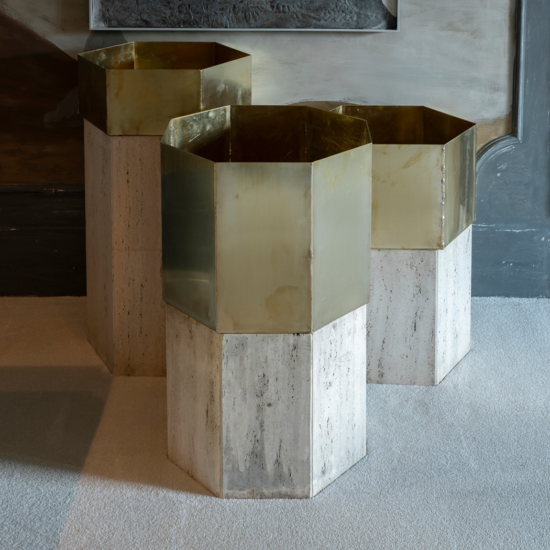 Set of Three Travertine and Natural Brass Planter, Italy 1970s