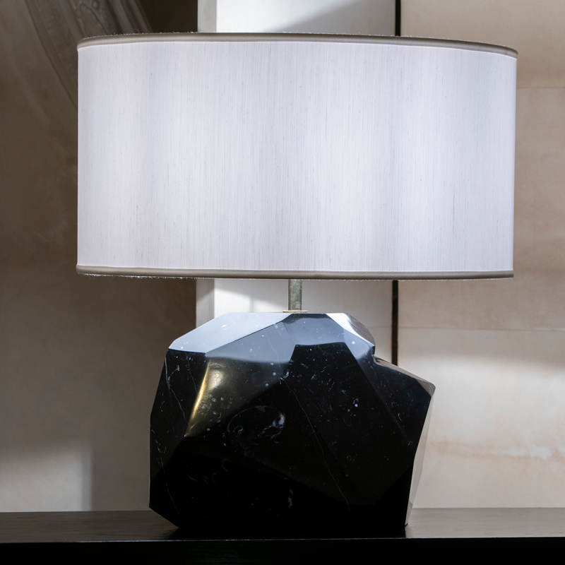 ''Monolite'' Polished Nero Marquinia Lamp