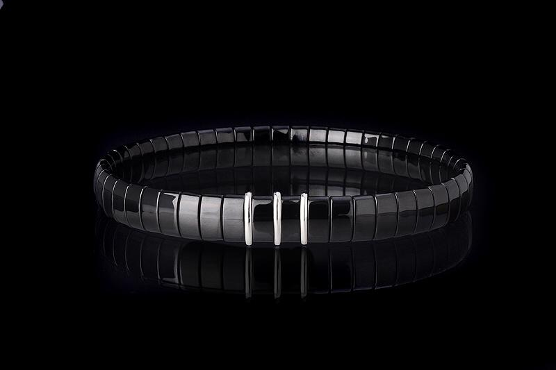 BCNB3 - Black Ceramic Bracelet With 3 Inserts