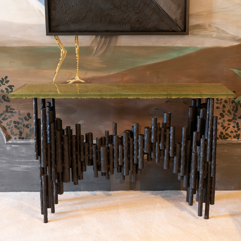 Flair Edition Contemporary Steel Tubes and Art Glass Console, Italy 2019