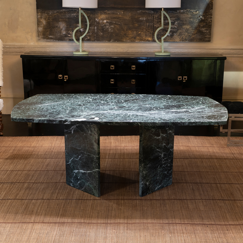 1970s Italian Verdi Alpi Marble Dining Table