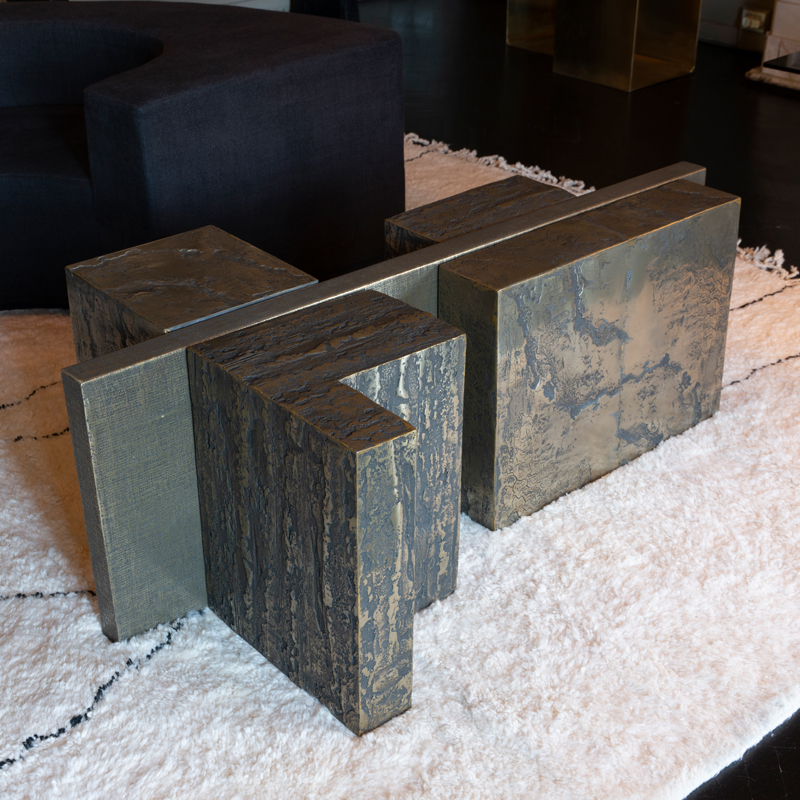 Zenoni for Flair | Bronze Resin, Brass, Jute Coffee Table