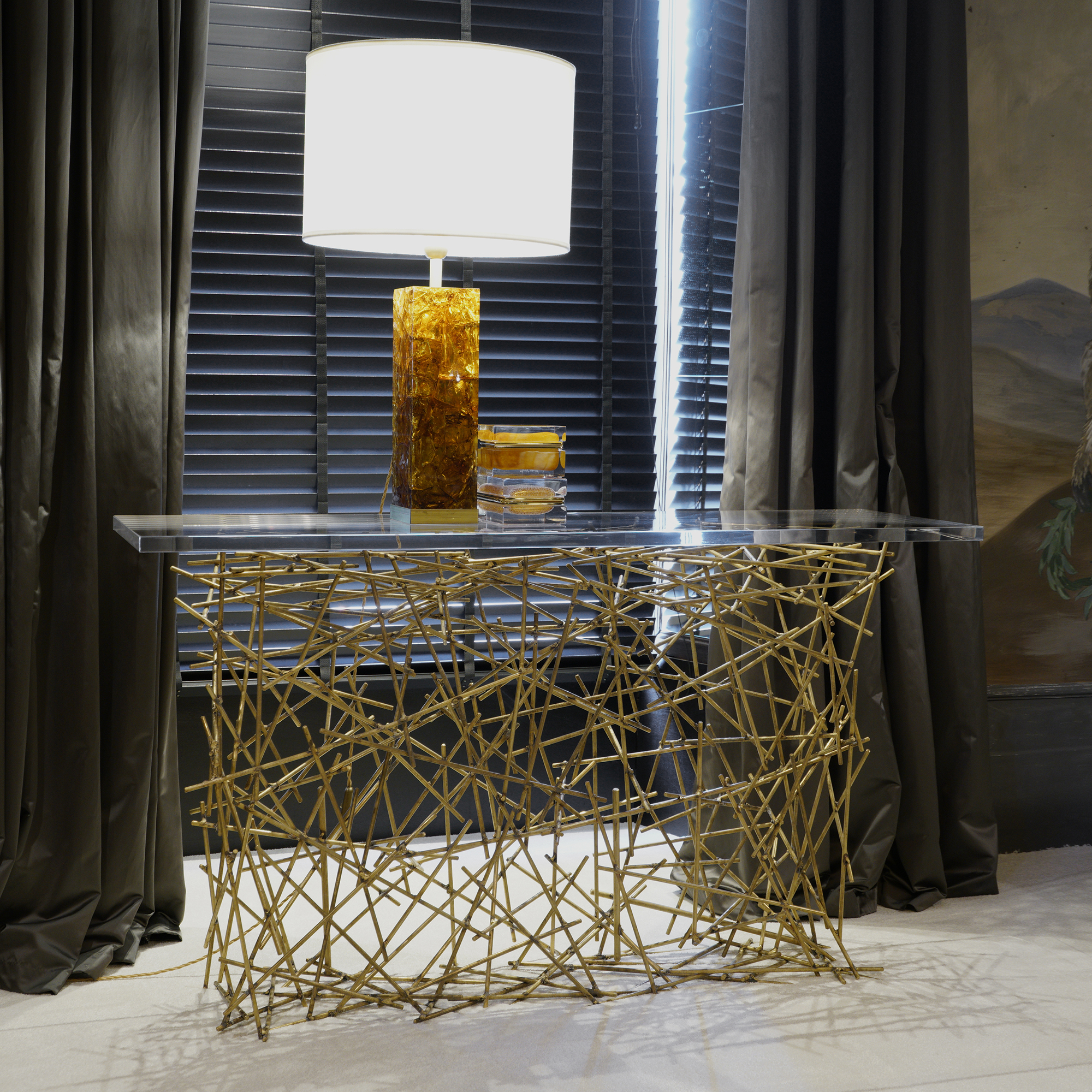 "Flair Edition ""Wires"" Natural Brass Console, Italy 2019"