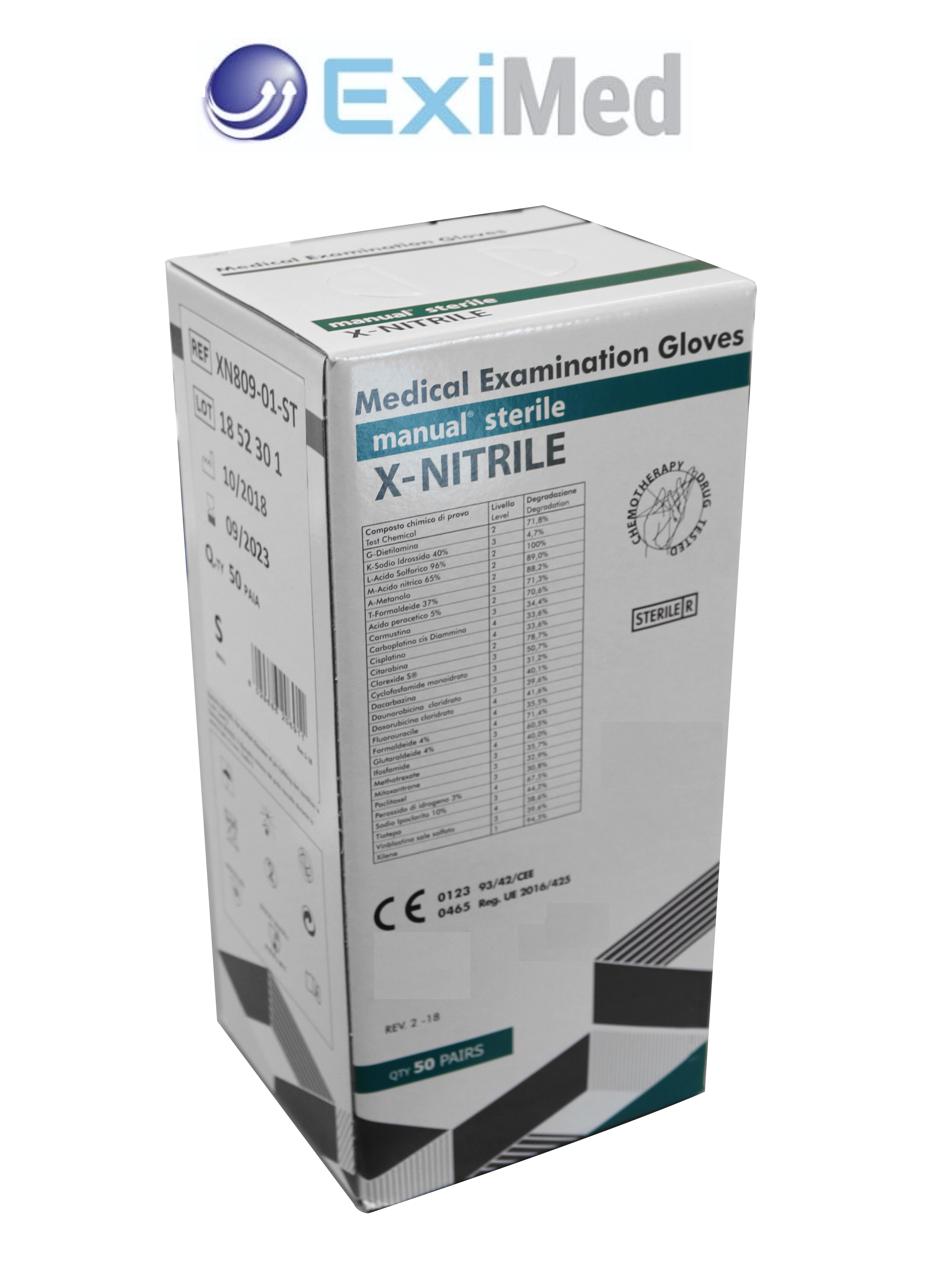 Chemo Examination Gloves - MANUAL X-NITRILE - Sterile Extra Protection Long Cuff