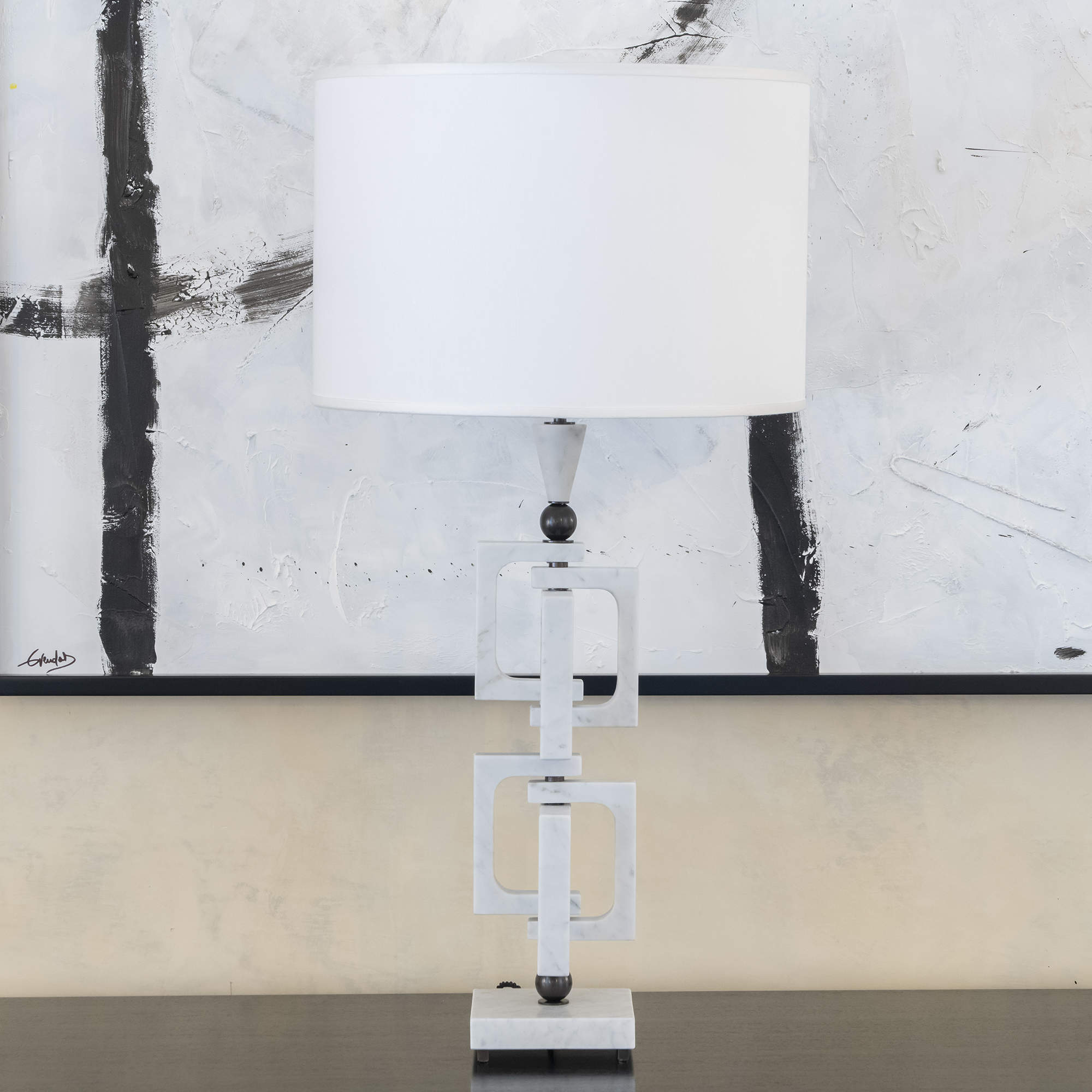 AdHoc White Carrara Marble Table Lamp