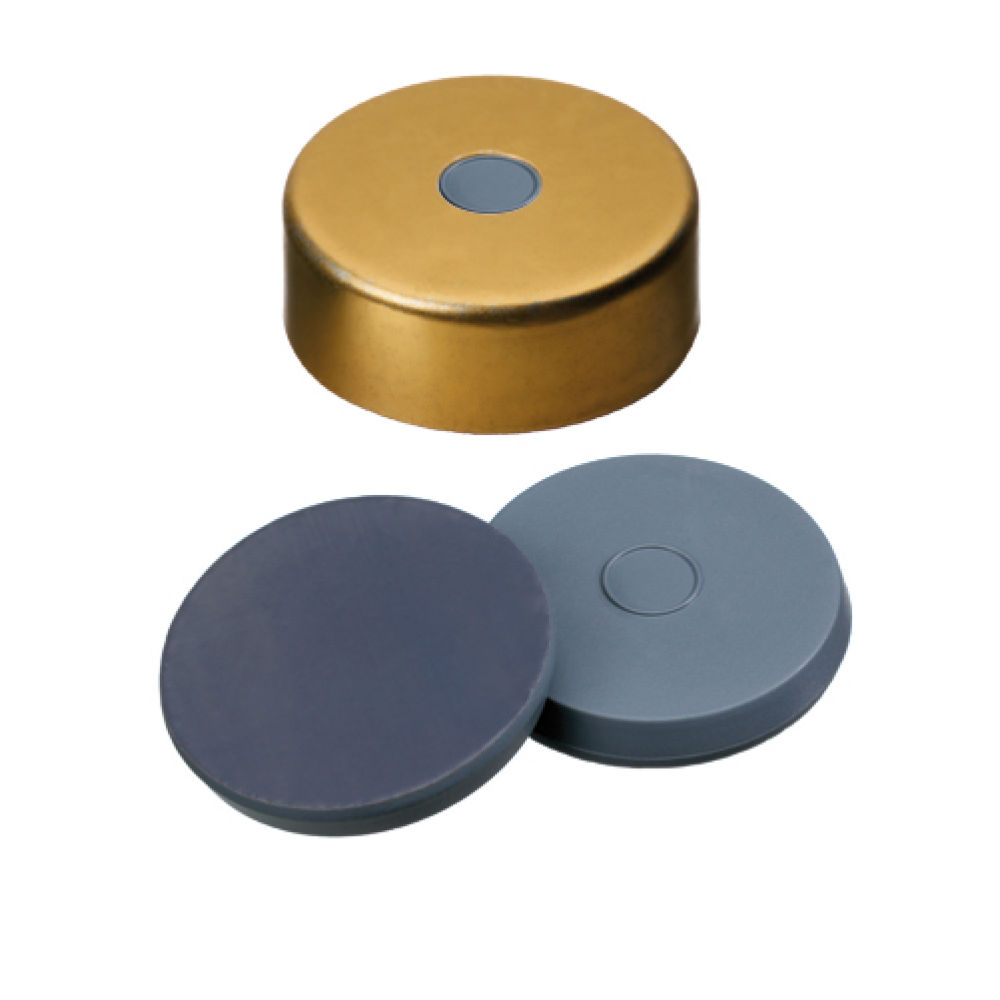 V201147 ND20 Magnetic Crimp Cap (5mm hole) with Butyl/PTFE Septa , pk.100