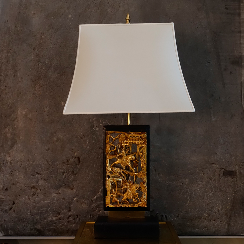 1950s Gilded Chinese Fregio Table Lamp