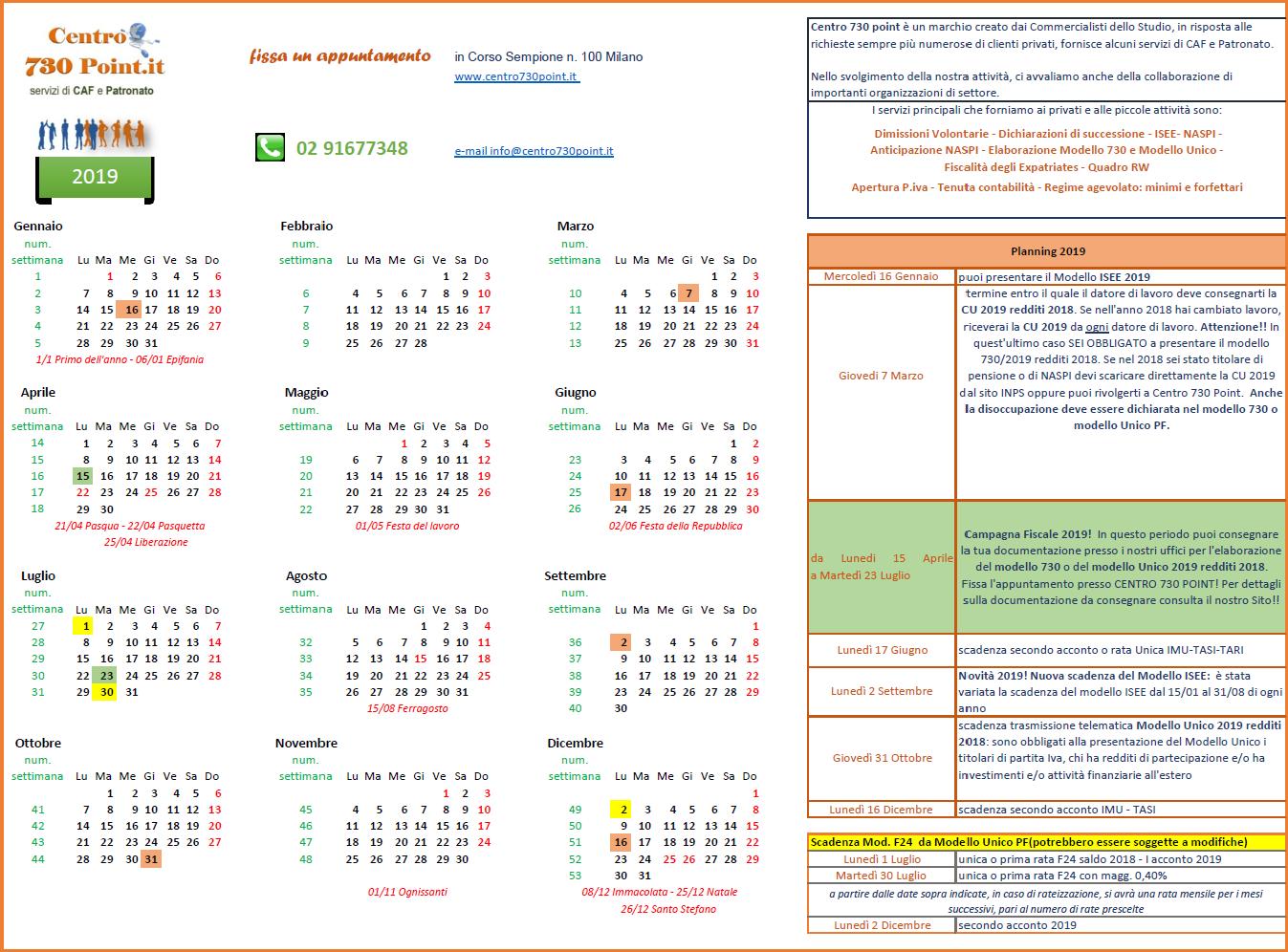 Calendario Fiscale.Calendario Fiscale 2019 Quali Scadenze Ci Sono Nel 2019